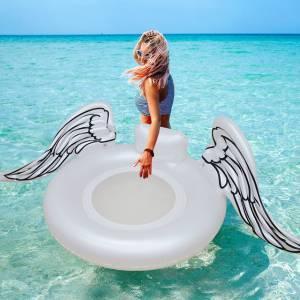 ΦΟΥΣΚΩΤΟ ΣΤΡΩΜΑ ΘΑΛΑΣΣΗΣ ΦΤΕΡΑ - GIANT WHITE ANGEL WING INFLATABLE POOL FLOAT 100cm