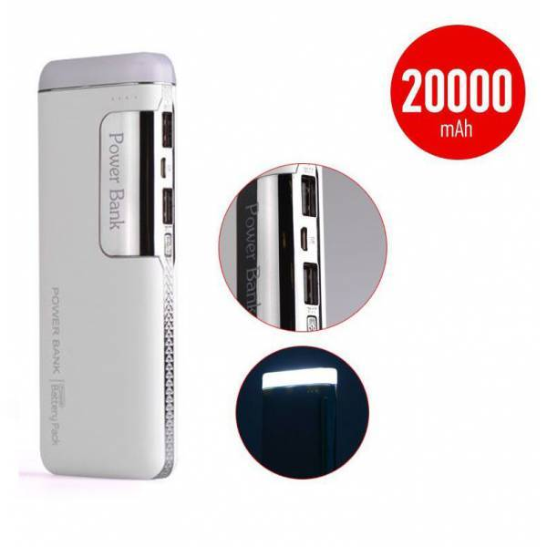 POWER BANK 5V/20000MAH ΜΕ 2 ΘΥΡΕΣ USB ΚΑΙ ΦΑΚΟ - ΑΣΗΜΙ- ΟΕΜ