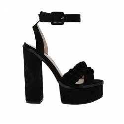 PUBLIC DESIRE STARLIGHT RUFFLE PLATFORM HIGH HEELS IN BLACK FAUX SUEDE