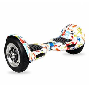 """SMART BALANCE HOVERBOARD WHEEL WITH BLUETOOTH & LED ΗΛΕΚΤΡΙΚΟ ΠΑΤΙΝΙ GRAFFITI WHITE HIP HOP 10"""""""